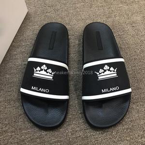 2020 Hommes Femmes Sandales d'été Plage Diapo Casual Slippers Roi qualité parfaite Couronne Designer Italie Luxe Imprimer Slipper avec la boîte