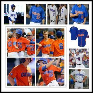 Günstige Mode für Männer Individuelle Florida Gators NCAA Baseball 8 Deacon Liput 22 JJ Schwarz 51 Brady Singer 16 Wil Dalton 44 Austin Trikots