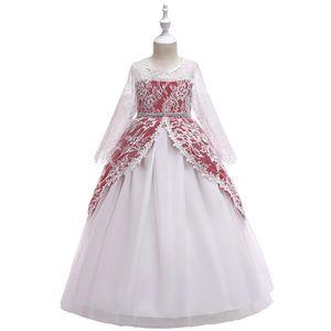 New Girls'Dresses Geripptes Mädchenkleid mit Spitzenärmeln Prinzessin Rock Blumenrock Hauptdarsteller Peng Peng Rock