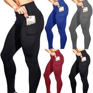 женские брюки чистого цвета с карманом сотового телефона нижнее белье высокая эластичность Yoga подтяжка бедра высокой талией Yoga Pants бег спортивные брюки
