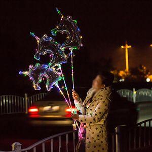 Globo LED luminoso de alta calidad Unicornio transparente Burbuja Fiesta de cumpleaños Decoración de la boda Globo LED Burbuja Baby Shower Niños Juguete