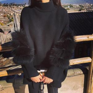 Las mujeres de gran tamaño piel del suéter del invierno Truien Dames suéter mullido túnica de cuello alto Tire Femme manche longue 2019 moda Outwear S20200106