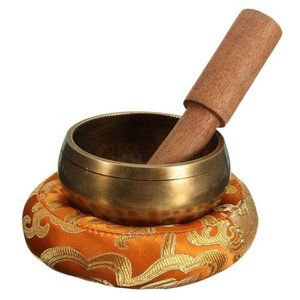 Nepal Handmade Buddha Tibet Bowl Bowl Ritual Musiktherapie Kupfer Chime Kupfer tibetanische Klangschale mit Stock und Kissen