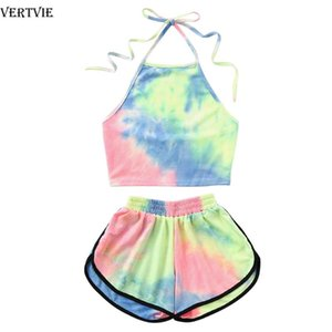 Tie-Dye Gradient Halter Crop Top Biker Shorts Two 2 piece Yoga Set Women Summer Tank Camis Suit Holiday Outfit Tracksuit