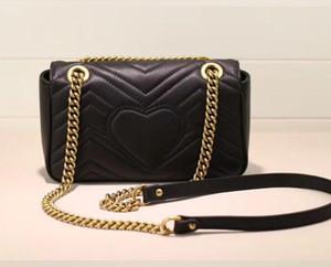 bag El envío libre Marmont de los bolsos de alta calidad famosas marcas de ondas de diseño mujeres de los bolsos bolsos de hombro del cuero auténtico