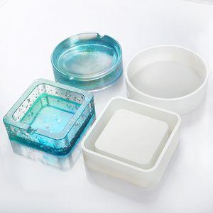 Cenicero Molde de silicona resina epoxi moldes cuadrados redondos DIY Craft Making Supplies hecho a mano Cenicero regalos artesanales
