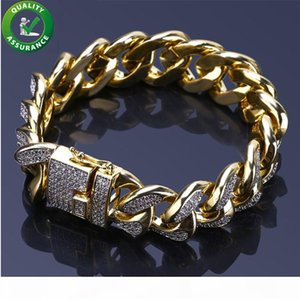 Mens Bracelets Luxury Designer Bangles Gold Iced Out Miami Cuban Link Chain Bracelet Hip Hop Jewelry Cubic Zircon Diamond Wedding Love Gift