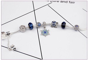 2020 Fit Pan logo Snowflake pendant blue star handmade bracelet beads jewelry charm 925 sterling silver bracelet for women gifts