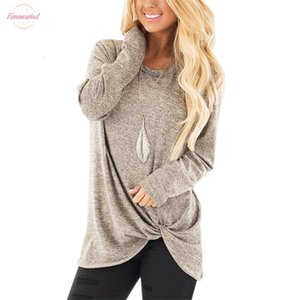 2020 Autumn Women Casual Long Sleeve T Shirt Top Plus Size Female Side Twist Solid Knotted Tshirt Women Shirts Korean Clothes