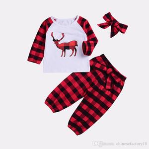 Baby Girls Christmas Clothes Set Camisa de alce de manga larga + Pantalones de rejilla + Diademas con lazo 3 piezas Ropa de Navidad para niños