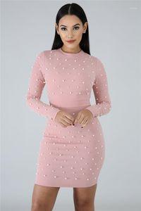 Dress Bubble Nail branello aderente vestiti scarni di colore solido manica lunga vestiti dalle signore del progettista estate delle donne
