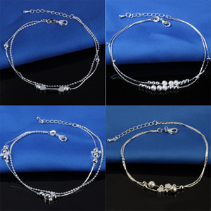 Hot Selling Stamped 925 Sterling Silver Anklets For Womens Simple Beads Silver Chain Anklet Ankle Foot Jewelry YD0107
