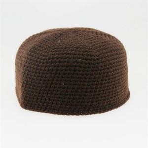 Invierno musulmanes de oración sombreros para hombres Árabe Árabe Islam ajustable caliente de lana hechos a mano ropa que hace punto islámica hombre Cap turbante