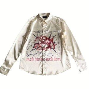 18FW Yeni Tasarımcı Uzun Gömlek ERD İpek Çiçek Vine Akne Red Rose High Street Gömlek Moda Erkekler Ve Kadınlar Uzun Kollu Gömlek HFWPTX403