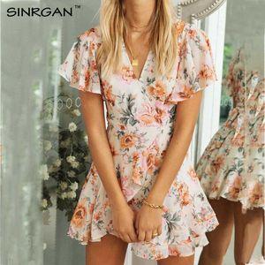SINRGAN verano melocotón vestido de manga corta floral informal fajas de la cintura Vestido de tirantes Mujeres Spring Daily vestido de volantes