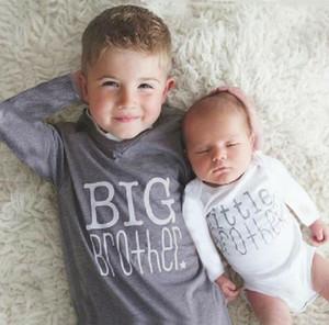 Pudcoco Big Little Brother Baby Boys Romper детская футболка Tee Matching Set с длинным рукавом Письмо печати хлопчатобумажная одежда