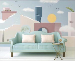 WDBH custom photo 3d wallpaper Modern minimalist nordic cartoon hand painted creative building background wall wallpaper for walls 3 d