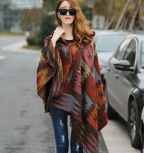2019 La nueva capa de invierno de las mujeres de Boho con capucha del poncho del cabo damas Chales Pashmina envuelven a cuadros femeninos de la bufanda de cachemira manta Bufanda Mujer GB1401