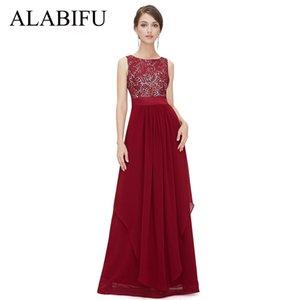 Alabifu Langes Sommerkleid Frauen 2019 Sexy Backless Ärmelloses Spitzenkleid Elegante Maxi Hochzeit Party Kleider Schwarz / rot Vestidos Y190507