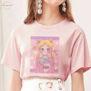 Summer 2019 New Arrival Cute Sailor Moon Anime Print Female Tshirt Japanese V Neck Clothes Harajuku Kawaii Womens T Shirt Fashion Tops
