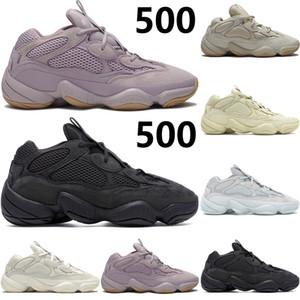 Réfléchissant rat du désert 500 vision pierre noire sel utilité blanc os kanye doux ouest chaussures de course des femmes des hommes formateurs Sneakers avec boîte