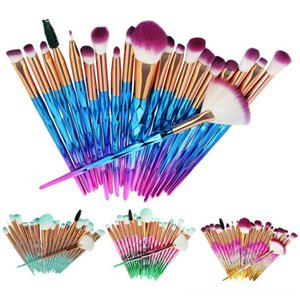 Faroot 20 PCS Unicorn Hand Tools Tools Diamond Make up Brushes Set Foundation Eyeshadow Eyebrow Blending Brush Set Lip Make-up Powder Tools