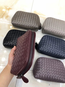 Free shipping Wholesale 7 Class cosmetic bags for women makeup organizer travel bag lambskin leather double zipper around cosmetic pouches