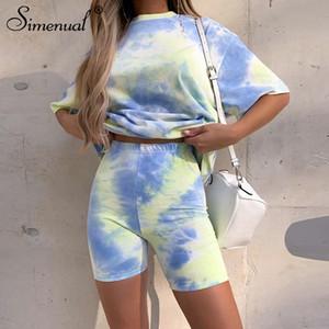 Conjuntos Simenual Tie Dye Casual Workout Mulheres Co-ord manga curta desportivo desgaste ativo Moda Outfit Verão Top E Biker Shorts Set T200607