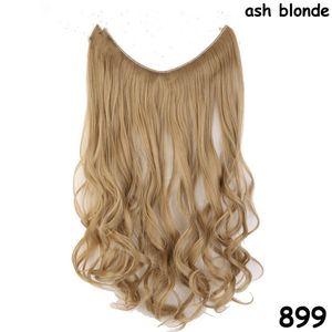 20 pouces Invisible Wire Pas de Clips dans les Extensions de Cheveux Ligne de Poissons Secrets Hairpieces Silky Straight Real Synthétique Naturel