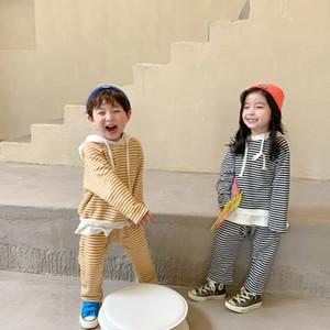 Baby Kids stripe sweatshir outfit 2020 autumn girls sport sets children stripe long sleeve hoodies+casual pants 2pcs clothing suits V057
