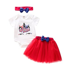 Baby Girls Skirts Suit Infant Unicorn Romper Sequin Mesh TUTU Skirts Infant Baby Clothes Girls American Independence Day Kids Clothes 060518