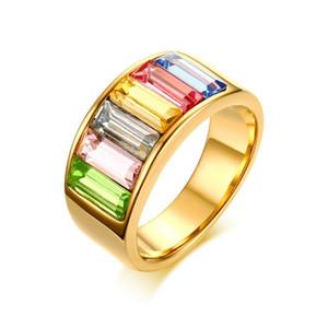 """Anillos para mujer Anillo de declaración de cristales multicolores """"Colorful Life"""" de acero inoxidable para mujer Joyas de moda de color dorado R-324G"""