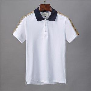 Mens Designer Patchwork Polos Camisas Casual Stripe Verão Print Designer Turn Down Collar Tees Hombres Polo