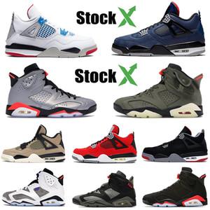 4 4s de los hombres zapatos de baloncesto lo que los Jumpman 6 6s Mushroom criados FIBA El invierno del azul real zapatillas de deporte negro diseñador de los hombres zapatos 40-47 infrarrojos