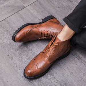 Hot Sale-Brogue Estilo Tornozelo Botas Homem britânico Primavera Casual / Botas Outono básico dos homens Formal Botas Homens