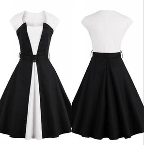 Weiße und schwarze Patchwork-Frauen-Arbeits-Kleider Formal Ready To Vestidos eine Linie Sleeveless knielangen Beiläufiges Party-Kleid tragen FS1414 Arbeit