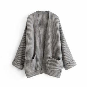 Femmes Pull Casual Cardigan Pull col V à manches longues en vrac solide avec des poches pour les femmes Automne Hiver 2019 nouvelle mode d'arrivée