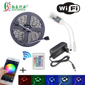 bande avance de 5 M 2835 RGB WIFI bande LED RGB éclairage étanche 10M 15M conduit bande de ruban avec adaptateur d'alimentation télécommande sans fil WIFI 12V Kit