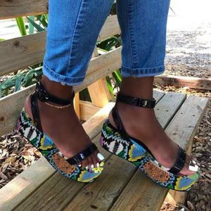 2020 Snake print Platform Shoes Woman Sandals Open Toe Sandals Colorful Ladies Summer Shoes Ankle Buckle Woman Size Plus
