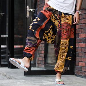 Erkekler Nedensel Çiçek Baskılı Hippy Baghee Boho Elastik Çapraz Pantolon Serbest Pantolon Aladdin Geniş Bacak Pamuk Keten Harem Pantolon
