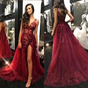 Sexy Borgogna Africana Prom Dresses V Neck Illusion Corpetto Paillettes in rilievo Tulle Split Backless Abiti da sera