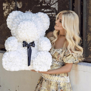 Commercio All'Ingrosso Big Custom Teddy rosa orso con la scatola di Lusso 3D Orso di Rose Fiore Regalo Di Natale regalo di San Valentino