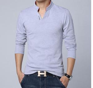 Erkek Tasarımcı Katı Renk Spor Tshirts Casual V Yaka Uzun kollu spor Tees Erkek Giyim Tops