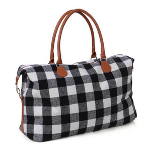 2 Colors Buffalo Check Handbag Red Black Plaid Bags Large Capacity Travel Tote with PU Handle Luggage Bag Casual Handbag CCA11411-1 10pcs