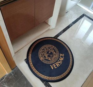 la moda INS Carta Ronda de la estera del piso 60cm nórdica alfombra de la sala dormitorio de la estera de puerta de la cocina engrosamiento antideslizante Mat Baño
