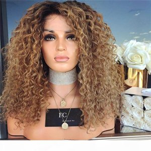 Lace Front Wigs Brazilian Human Hair Ombre 1B 30 Honey Blonde Deep Curly Front Lace Wigs For Black Women 200% Density