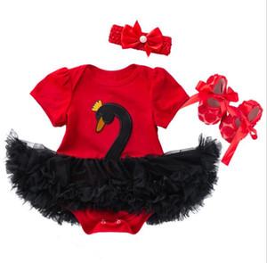 New Infant Baby 3pcs Ensemble Bébés Cartoon Swan Manches Courtes Barboteuses Robe Jupe + Bandeau + Chaussures Enfants Ensemble Enfants Tenues 14452