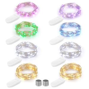 LED de cobre fio de prata Luzes Cordas Bateria Fada Bateria luz 1M 2M 3M para Xmas Início Festa de Halloween Decoração de Natal festa de casamento
