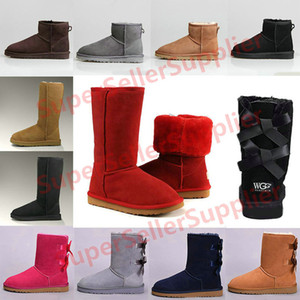 2019 Women boots Classic Australia Short Mini Ankle Knee Tall designer boots Bailey Bow men winter snow booties 36-41 Keep Warm New Arrival