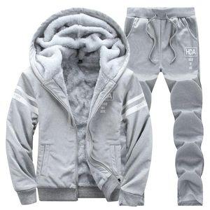 Verursachende Männer Tracksuits Set mit Kapuze verdicken Fleece Pullover Sweatpant Winter Frühling Sweatshirt Sport Male Brief drucken